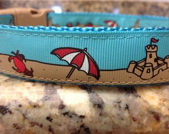 "Sand Castle dog collar 1"" size large and medium"
