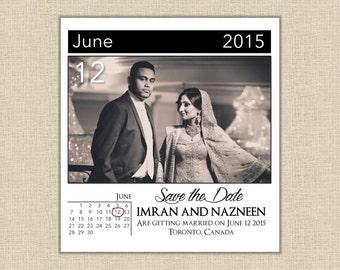 Photo Calendar Save the Date Invitation - Custom Digital File