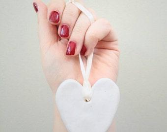 Large White Heart Charm Wedding Place Name