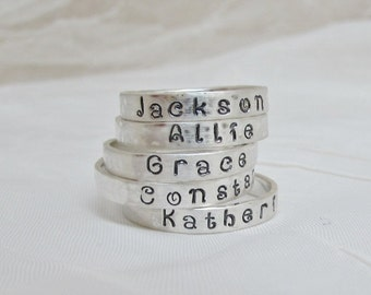 Sale  - Personalized Sterling Silver Ring Name Stacker Custom Mommy Rings 3 mm Width by 1 mm Thick Band MOTHERS Ring
