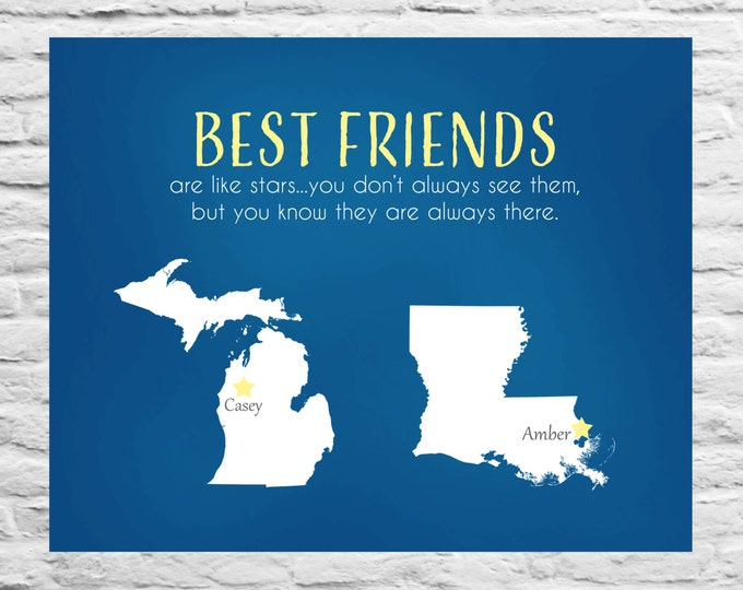 Best Friends Are Like Stars - Long Distance Best Friend Birthday Gift, BFF, Roommate, Personalized Print Farewell quote Sorority sister Gift