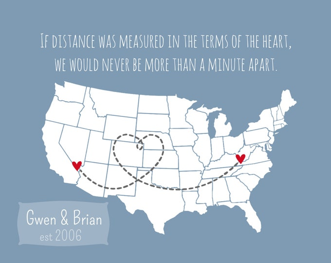 Long Distance Best Friend Gift Personalized Gift Bestie Gift U.S. Country Map Birthday Gift for Best Friend BFF heart line print