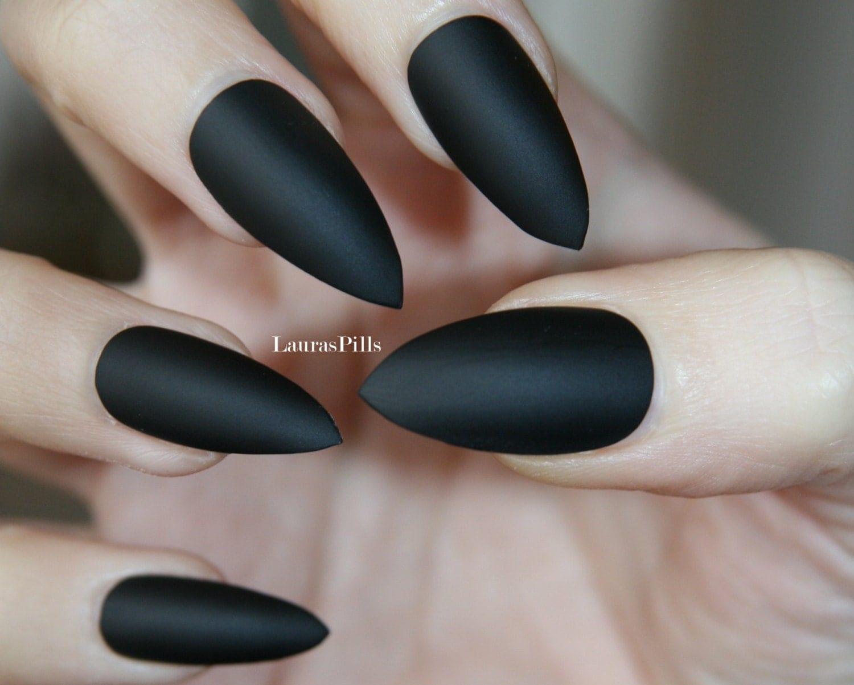 matte black stiletto false nails by lauraspills on etsy