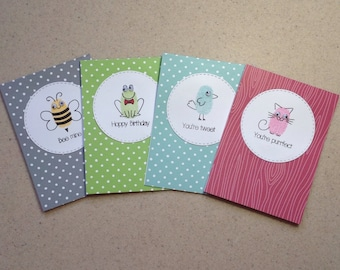 Set of 4 Notecards, All Occassions, Greeting Cards