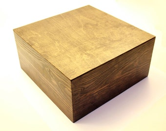 Beautiful Wood Box With Lid 12x12x6 Dark Walnut Stain Rustic Box Groomsman Gift  Storage Pistol Box (