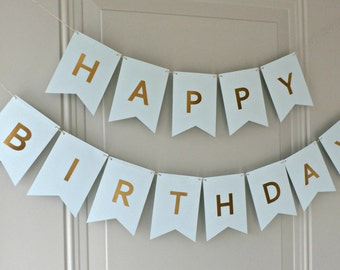 Happy Birthday Banner - Blue with Gold Foil Letters
