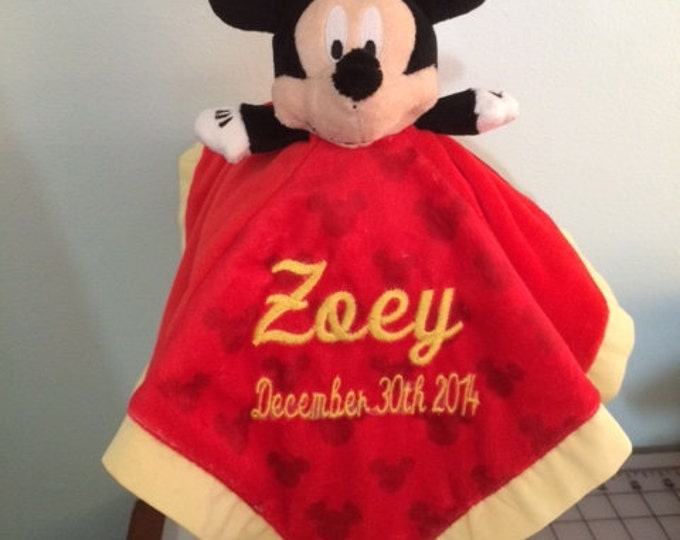 Mickey Mouse inspired Snuggle Blankey Security Baby Blanket Lovey - Monogrammed