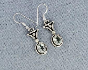 Natural Prasiolite Green Amethyst Gemstone 925 Sterling Silver Earrings - Birthstone Jewelry - Wedding Gift For Her