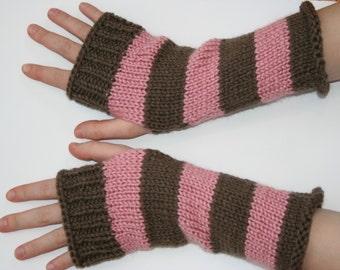Pink and Brown Varsity Stripe Fingerless Gloves / Striped Gloves /