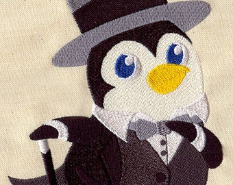 Penguin in a suit embroidered floursack teatowel/ dishtowel