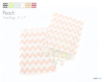 "25 Large Chevron Peach Treat Bags - 5"" x 7"""