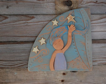 Items similar to Folk Art Girl among Stars Print Childrens