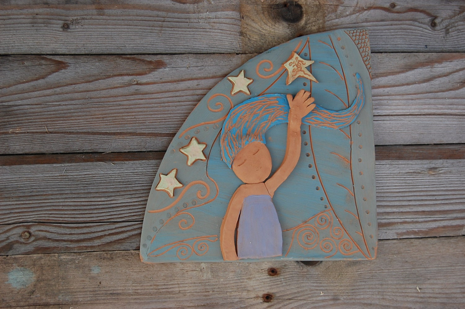 wall art decorative terracotta tile home decor girl