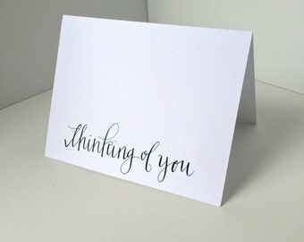 Hand Lettered Custom Calligraphy Cards, Think of You set of Cards