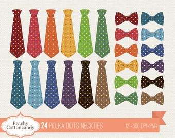 BUY 2 GET 1 FREE 24 Colorful Polka Dots Neckties Clipart - Polka Dot Necktie & Bow Tie Clip Art - Polkadot Tie Clip Art - Commercial Use Ok