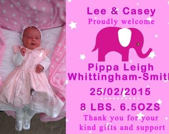 Girl BIRTH ANNOUNCEMENT, Printable Thank you Card, Baby Thank you card, elephant, Girl Baby Birth Announcement