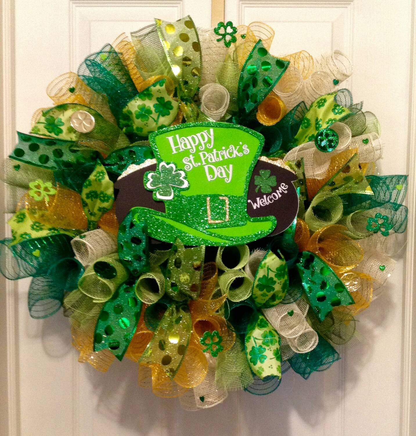 St patrick day wreath st patrick decor st by collectionsbykg for Decoration saint patrick