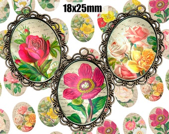 Digital Collage Sheet ANTIQUE FLOWER 18x25mm Printable Oval Download for pendants magnets Cabochons jewelry
