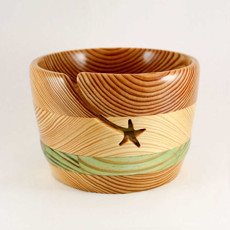 Knitting Bowls Wood : Wood yarn bowl large with star groove by heckathornturnedwood