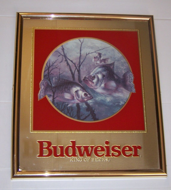 Anheuser Busch Budweiser Mirror With Large Mouth Bass Fish