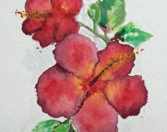 Hibiscus painting, floral art