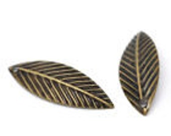 bronze color leaf charm  12 charms 21 x 7 mm