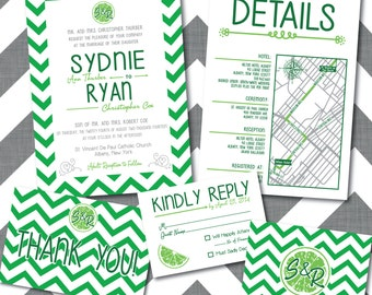 Printable Lime Wedding Invitations Pack