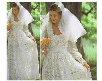 Crochet WEDDING DRESS PATTERN Vintage 70s And Wedding Bridal Veil Pattern Gown Maxi Dress