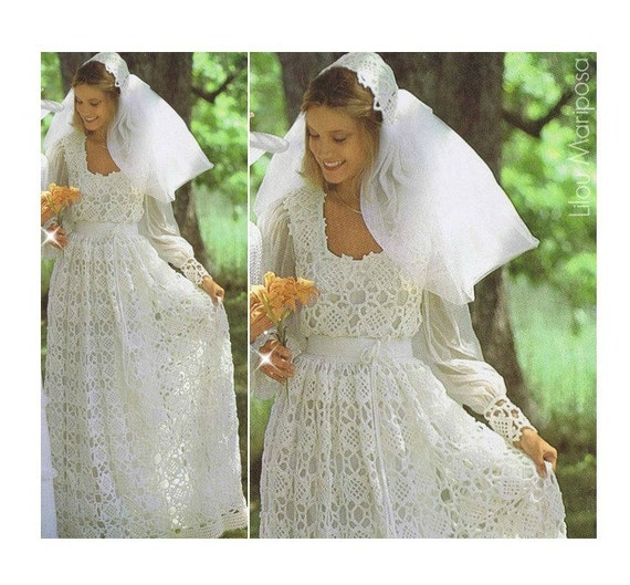 Crochet wedding dress pattern vintage 70s and crochet wedding crochet wedding dress pattern vintage 70s and crochet wedding bridal veil pattern bridal gown maxi dress bohemian clothing instant download junglespirit Images
