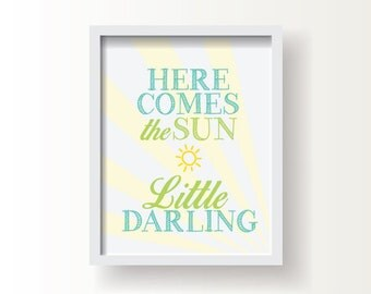 """Here Comes the Sun,  Baby or Kid;  8""""x10"""" or 11""""x14""""print, Original Design, Custom Color, Baby Shower Gift"""