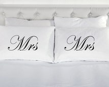 Mrs & Mrs Pillowcases Printed Pillow Case Wedding Engagement Valentines Day Bed Gay Marriage 200 Thread Count 100% Cotton Excellent Quality