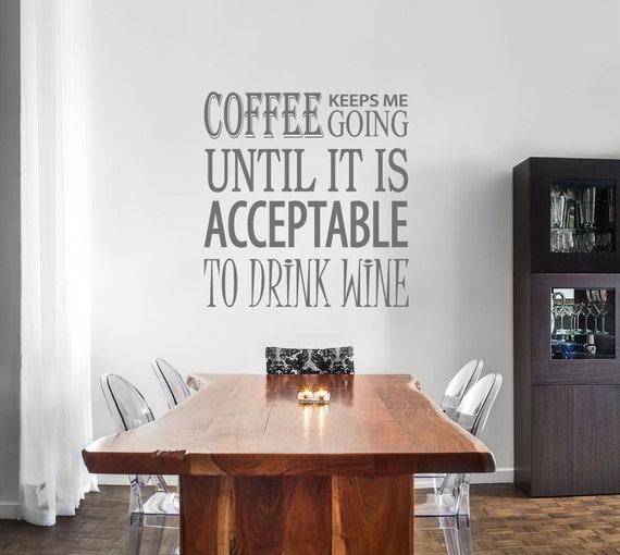 Kitchen wall decal coffee wine funny quote sticker gift for - Funny kitchen wall decals ...