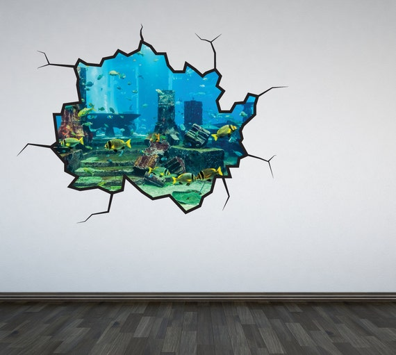 aquarium wall decal under the sea ocean sticker mural cracked