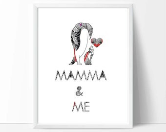 Mother and baby art, mother's day gift, printable wall art, downloadable print, baby birthday gifts, nursery decor, kids playroom