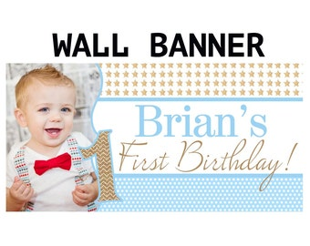 Twinkle Little Star Banner ~ Personalized Party Banners, Photo First Birthday Boy Banner, The big ONE Banner, Printed Birthday Banner