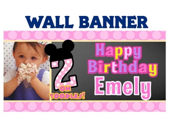 Minnie Mouse Birthday Banner ~ Personalize Happy Birthday Party Banners Indoor or Outdoor