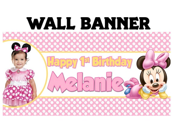Minnie Mouse Birthday Banner Personalize Happy 1st