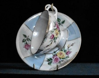 Vintage Cup and Saucer Set Porcelain with Floral and Iridescent Decoration made in Japan