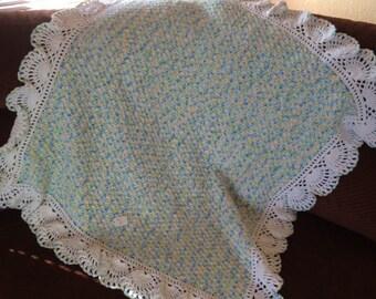 Crochet Baby Afghan Blanket ~ Handmade Scalloped Edge~ Baby Shower ~ Gift
