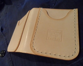 Veg tan leather card holder/wallet. Handmade, hand stitched. (FREE U.K. SHIPPING)