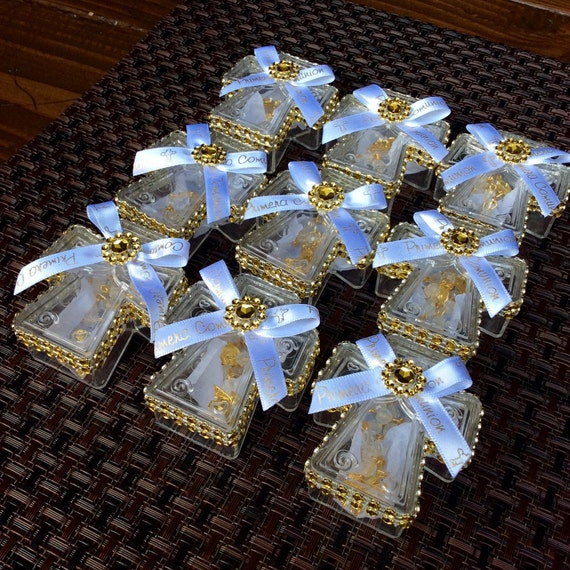Ornament Christening Favors: 12 Favors Boxes With Mini Rosaries-first Holy By