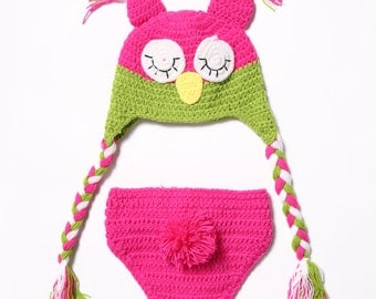 Owl Crochet Photo Prop Outfit