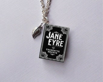 Jane Eyre with Tiny Leaf Charm - Miniature Book Necklace