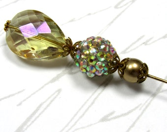 AB Teardrop Faceted Crystal AB Rhinestone Bead Gold Bead On Gold Plated Hat Scarf  Lapel Pin Repurposed Upcycled