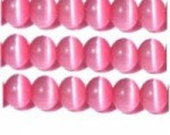 Cats Eye ( Fibre Optics ) 8mm Dark Pink - Pack 20
