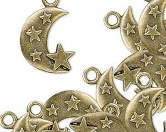 Metal Crescent Moon with Stars - 22x15mm - Antique Bronze - Pack 4