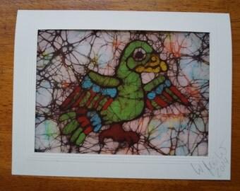 Batik Card of a Mayan Parrot