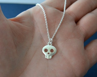 Tiny Skull Necklace, Sterling Choker Necklace, Skull Jewelry, Silver Choker, Charm Necklace