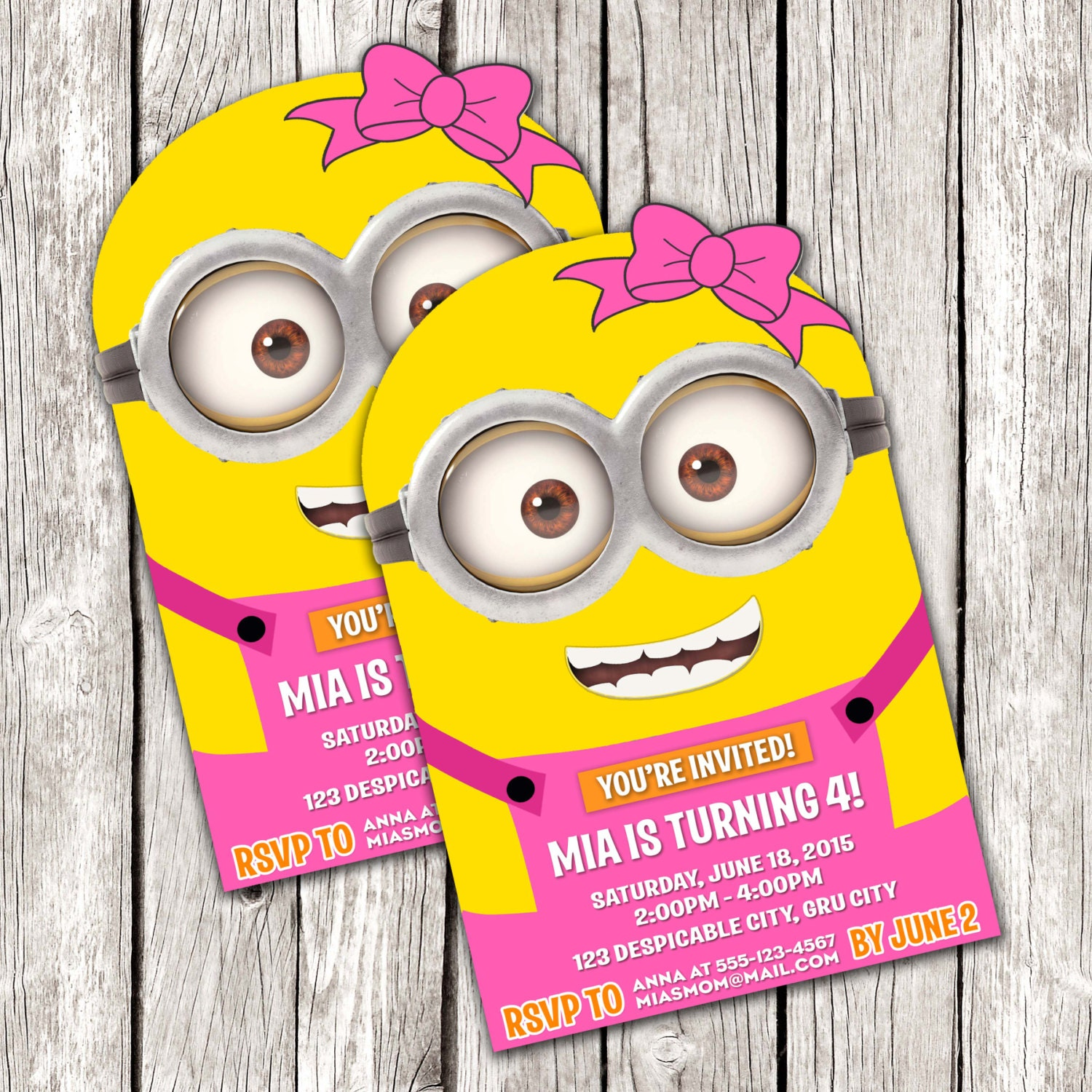 Pink Minion Invitation Despicable Me Birthday Party DIY