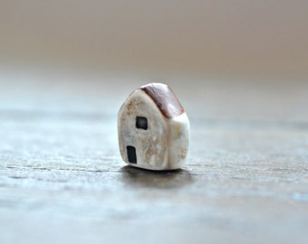 Rustic house bead, polymer clay house bead